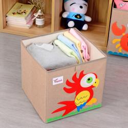 Складной ящик для игрушек, коричневый. Попугай.
