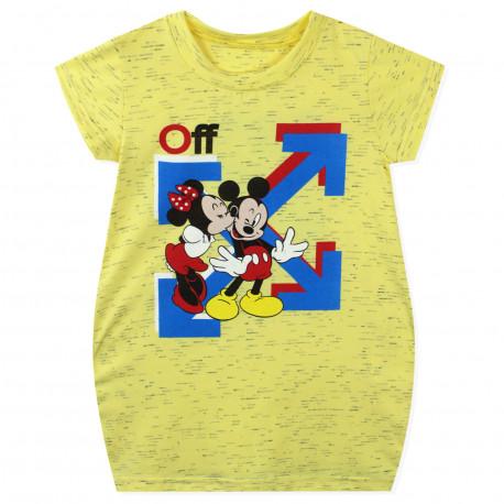 Платье для девочки, платье-туника, желтое. Микки и Минни.