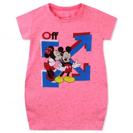 Платье для девочки, платье-туника, розовое. Микки и Минни.