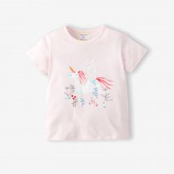 Футболка для девочки, розовая. Пегас в цветнике.