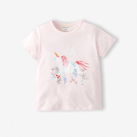 Футболка для девочки, розовый. Пегас в цветнике.