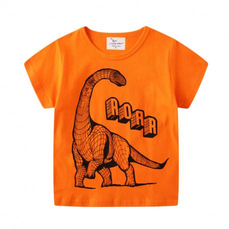 Футболка для мальчика, оранжевая. Графический диплодок.
