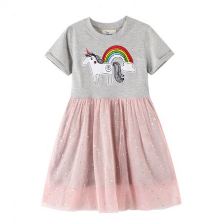 Платье для девочки, серый. Красивый единорог.