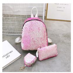 Набор 3 в 1! Рюкзак, косметичка, брелок. Розовый. Гламур.