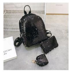 Набор 3 в 1! Рюкзак, косметичка, брелок. Черный. Гламур.