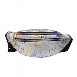 Сумка детская, поясная сумка, серебряная. Голографическая абстракция.