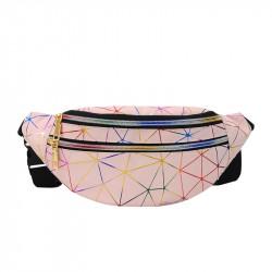 Сумка детская, поясная сумка, пудровая. Голографическая абстракция.