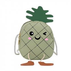 Сумка детская, зеленая. Веселый ананас.