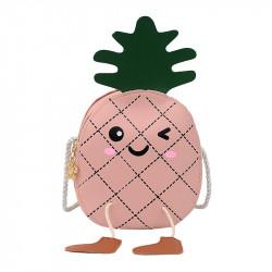 Сумка детская, розовая. Веселый ананас.