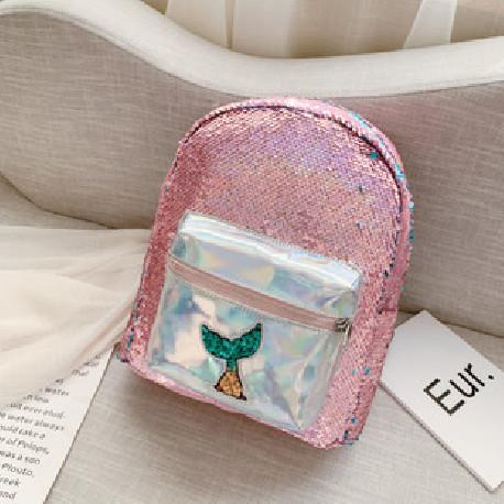 Рюкзак детский с паетками, розовый. Хвостик русалки.