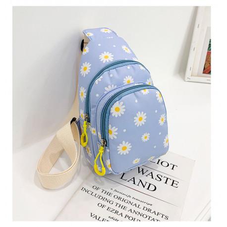Рюкзак через плечо , мини-рюкзак, городской, голубой. Белая ромашка.