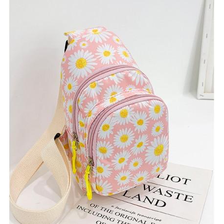 Рюкзак через плечо , мини-рюкзак, городской, розовый. Белая ромашка.