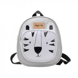 Детский рюкзак, серый. Белый тигр.