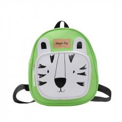 Детский рюкзак, салатовый. Белый тигр.