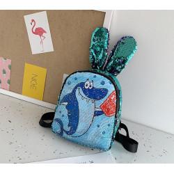 Рюкзак детский с ушками, с паетками перевертышами. Акула-романтик.
