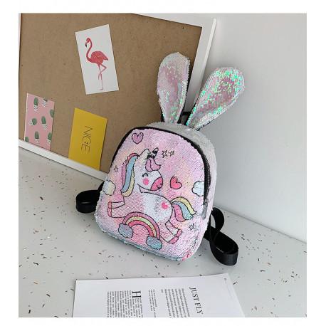 Рюкзак детский с ушками, с паетками перевертышами. Единорог-малыш.