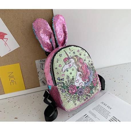 Рюкзак детский с ушками, с паетками перевертышами. Единорог-флорист.