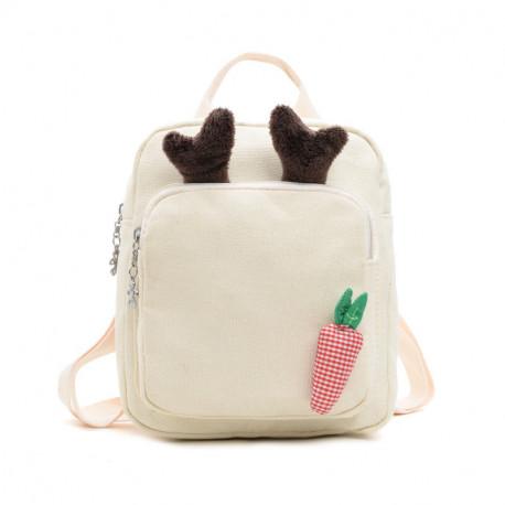 Детский рюкзак, белый. Бемби и морковочка.