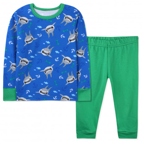 Пижама для мальчика, зеленая. Хищные акулы.