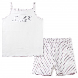 Пижама для девочки, белая. Сердечки.