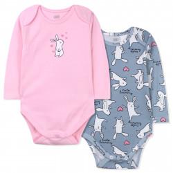 Боди 2 шт. детский, розово-серый. Влюбленный зайка.