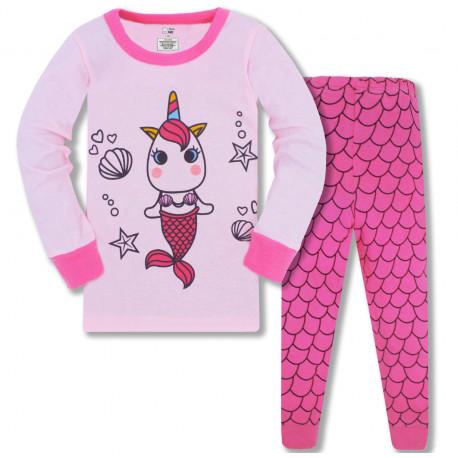 Пижама для девочки, розовая. Единорог-русалочка.