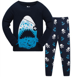 Пижама для мальчика, синяя. Акула-пират.