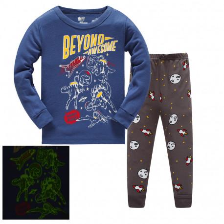 Пижама для мальчика, синяя. Динозавры-космонавты.