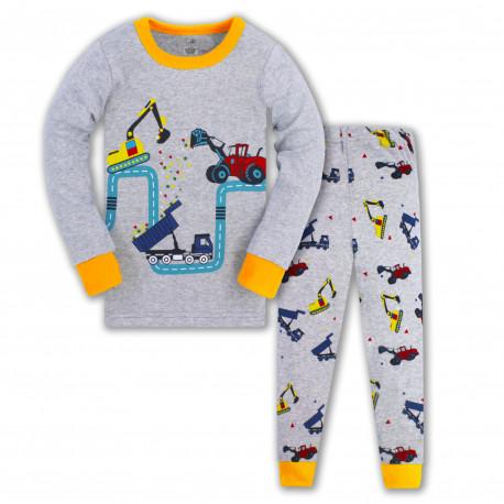Пижама для мальчика, серая. Строительная техника.
