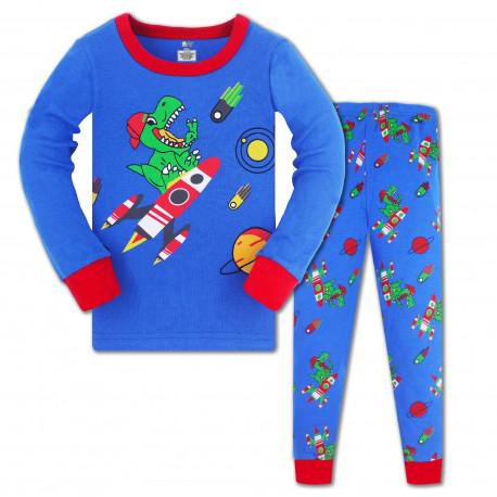 Пижама для мальчика, синяя. Дино на ракете.