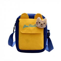 Сумка детская через плечо, желто-синяя. Котёнок.