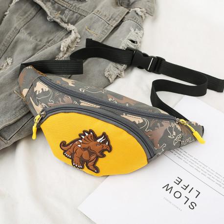 Сумка детская, поясная сумка, серая. Трицератопс.