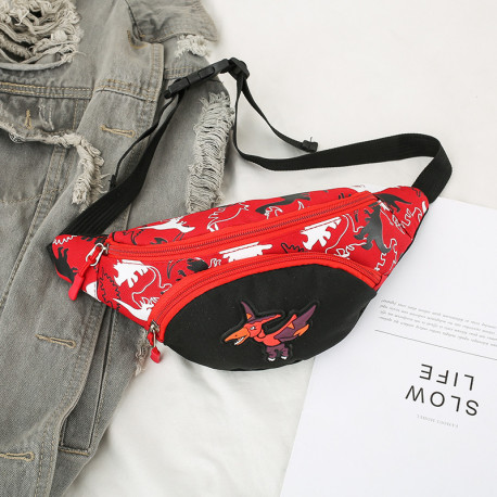 Сумка детская, поясная сумка, красная. Птеродактиль.