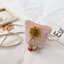 Сумка плетеная детская, розовая. Подсолнух.