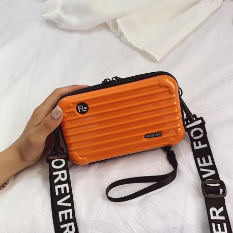 Сумка кросс-боди каркасная, оранжевая. Travel.