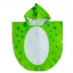 Полотенце-пончо, зеленое. Дино с шипами. 70*70 см.