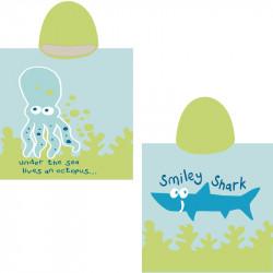 Полотенце-пончо, голубое. Осьминог и акула. 65*135 см. Микрофибра.