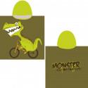 Полотенце-пончо, хаки. Дракон на велосипеде. 65*135 см. Микрофибра.
