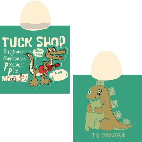Полотенце-пончо, зеленое Крокодил с гитарой. 65*135 см. Микрофибра.