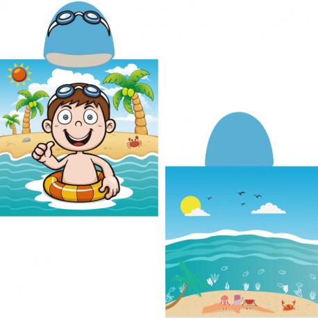 Полотенце-пончо, голубое. Мальчик на море. 65*135 см. Микрофибра.