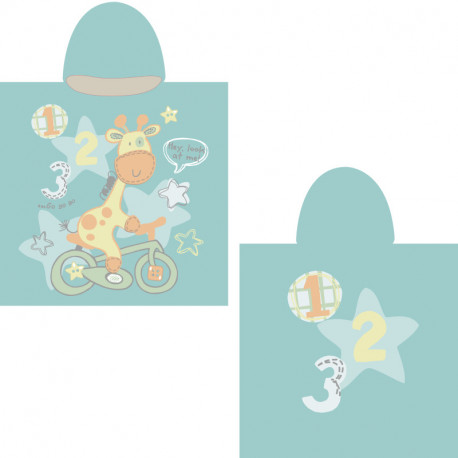 Полотенце-пончо, бирюзовое. Жираф на велосипеде. 65*135 см. Микрофибра.