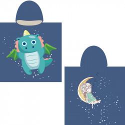 Полотенце-пончо, синее. Дракон и принцесса. 65*135 см. Микрофибра.