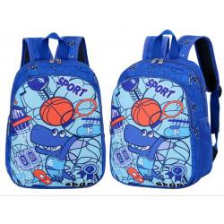 Детский рюкзак, синий. Крокодил-баскетболист.