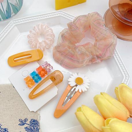 Набор заколок и резинок, оранжевый. Ромашка и мишки. 6 шт