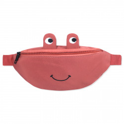 Сумка детская, поясная сумка, коралловая. Веселая лягушка.