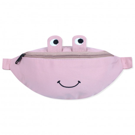 Сумка детская, поясная сумка, розовая. Веселая лягушка.