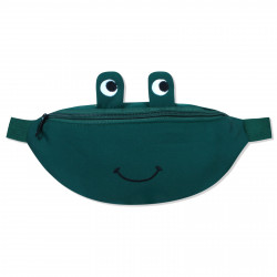 Сумка детская, поясная сумка, зеленая. Веселая лягушка.