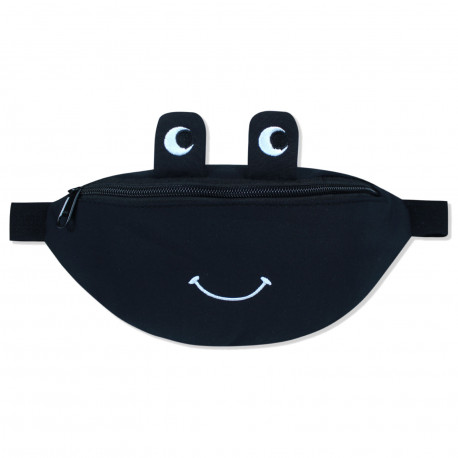 Сумка детская, поясная сумка, черная. Веселая лягушка.