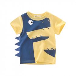 Футболка для мальчика, желтая. Динозавр с шипами.