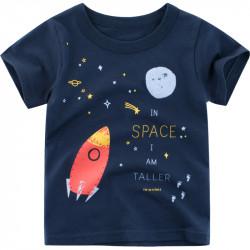 Футболка для мальчика, синяя. В открытом космосе.